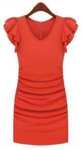 Orange V-neck Ruffle Sleeve Zip Back Sheath Dress