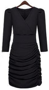 Black V-neck Half Sleeve Ruched Side Bandeau Wrap Dress