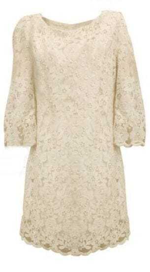 Ivory Half Sleeve Floral Lace Shift Zip Back Short Dress