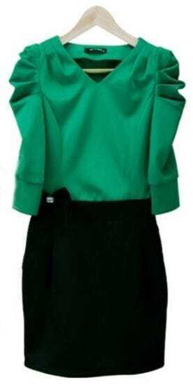 Green Ruched Half Sleeve V-neck Bandeau Short Dress