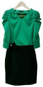 Green Ruched Half Sleeve V-neck Bandeau Short Dress