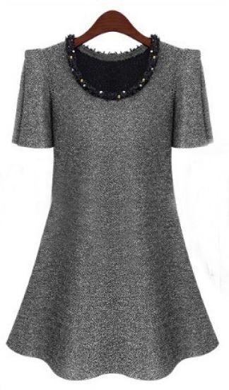 Light Grey Puff Sleeve Frayed Beading Neckline A-line Dress