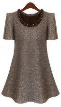 Light Khaki Puff Sleeve Frayed Beading Neckline A-line Dress