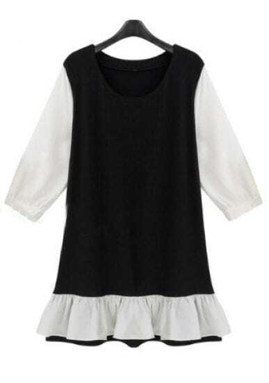 Black Half Sleeve Contrast Ruffle Hem Shift Short Dress