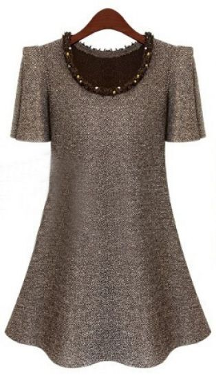Light Khaki Puff Sleeve Frayed Beading Neckline A-line Dress