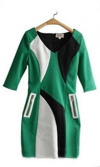 Green Black V-neck Half Sleeve Zip Pocket Sheath Short Dress