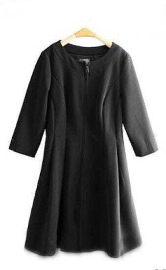Black Half Sleeveless Zip Placket Slim Flare Short Dress