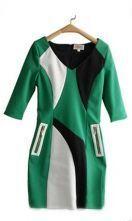 Green Black V-neck Half Sleeve Zip Pocket Sheath Short Dress