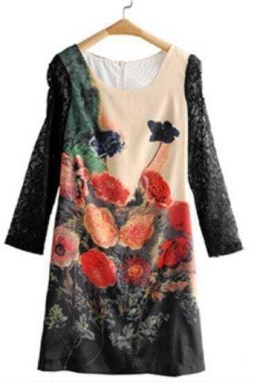 Black Ink Flowers Print Lace Short Sleeve Zip Back Dress