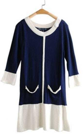 Blue Half Sleeve Contrast White Trims Pockets Sheath Dress
