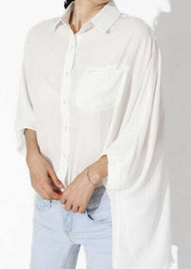 White Lapel Half Sleeve Batwing Loose Chiffon Shirt