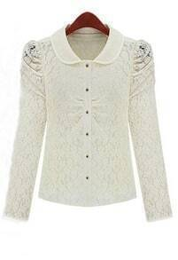 White Puff Long Sleeve Hollow Lace Peter Pan Neck Blouse