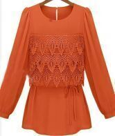 Orange Eyelet Tiered Flower Lace Front Drawstring Long Sleeve Blouse