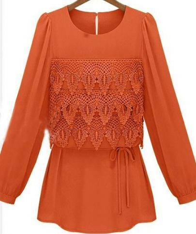 Orange Eyelet Tiered Flower Lace Front Drawstring Long Sleeve Blouse