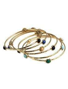 Multi Gemstone Gold Six Bangle Bracelet