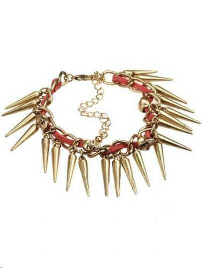 Gold Cone Chain Skull Link Bracelet