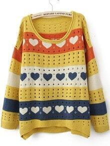 Yellow Round Neck Long Sleeve Heart Print Sweater