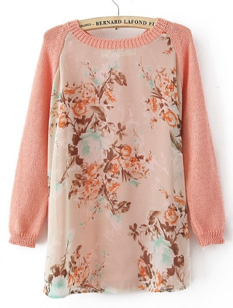 Pink Long Sleeve Round Neck Floral Mesh Yoke Sweater -SheIn(Sheinside)