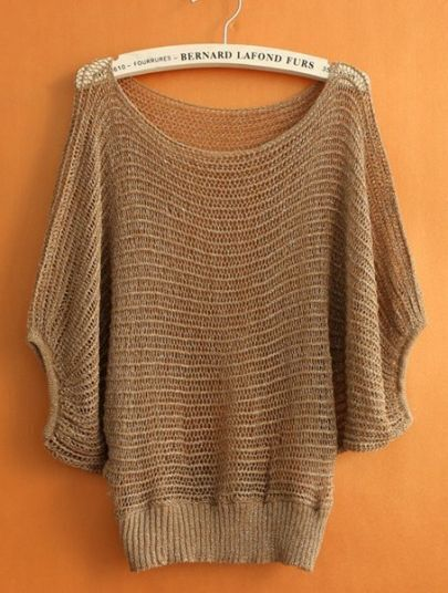 Khaki Round Neck Half Sleeve Hollow Mesh Yoke Sweater