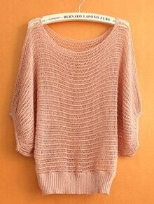 Pink Round Neck Half Sleeve Hollow Mesh Yoke Sweater