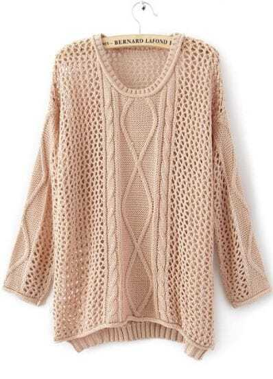 Pink Round Neck Long Sleeve Hollow Striped Sweater