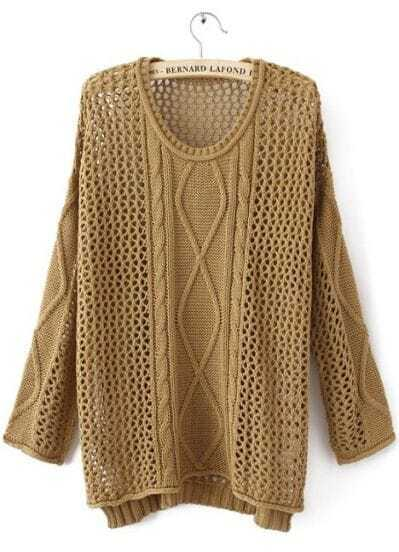 Brown Round Neck Long Sleeve Hollow Striped Sweater