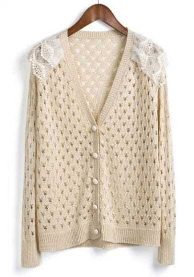 Beige Single Breasted Lace Hollow Sweater