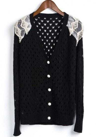 Black Single Breasted Lace Hollow Sweater