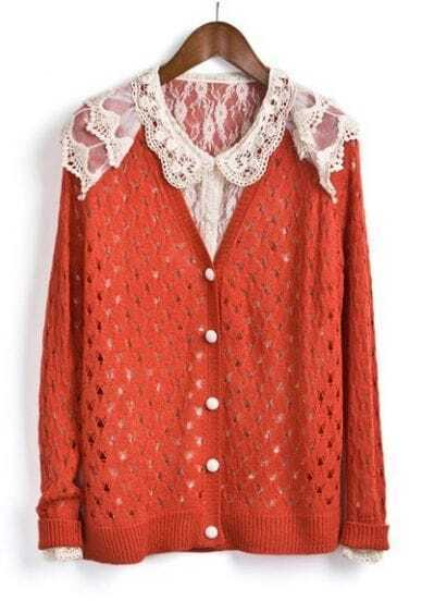 Red Single Breasted Lace Hollow Sweater