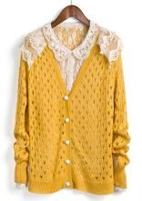 Yellow Single Breasted Lace Hollow Sweater