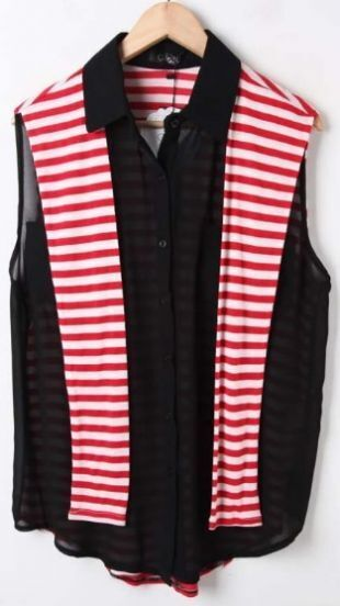 Black Sleeveless Chiffon Blouse with Red Striped Back Cape