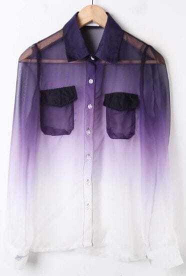 Purple White Gradient Pockets Long Sleeve Sheer Blouse