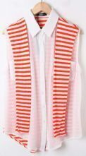 White Sleeveless Chiffon Blouse with Orange Striped Back Cape