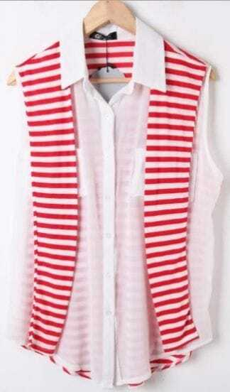 White Sleeveless Chiffon Blouse with Red Striped Back Cape