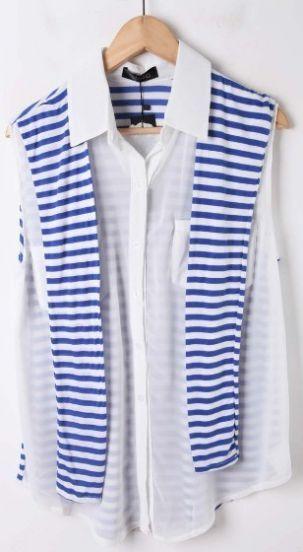 White Sleeveless Chiffon Blouse with Blue Striped Back Cape