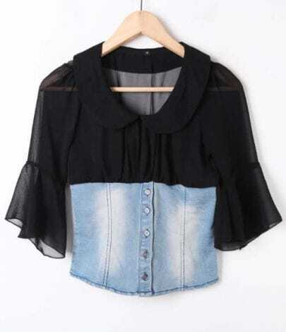 Black Perter Pan Collar Flare Sleeve Contrast Denim Blouse