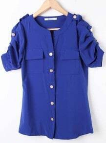 Royal Blue Studded Button Ruched Short Sleeeve Blouse