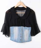 Black Perter Pan Collar Flare Sleeve Contrast Denim Blouse