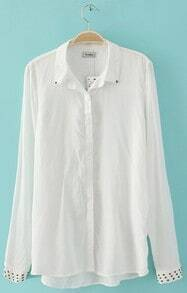 White Studded Embellished Lapel and Cuffs Long Sleeve Shirt