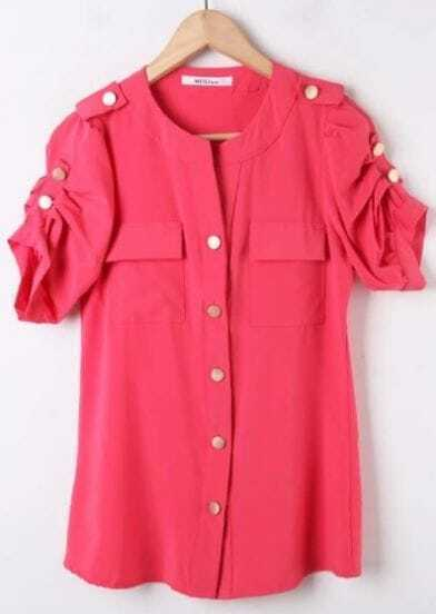 Pink Studded Button Ruched Short Sleeeve Blouse