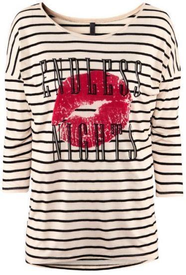 Beige Striped ENDLESS NIGHTS Lips Print Crop Sleeve T-shirt