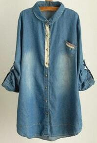 Blue Rolled Sleeve Lace Studded Buttons Long Denim Blouse