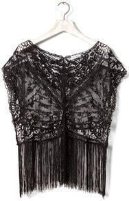 Black Crochet Lace Sleeveless Tassel Hem Sheer T-shirt