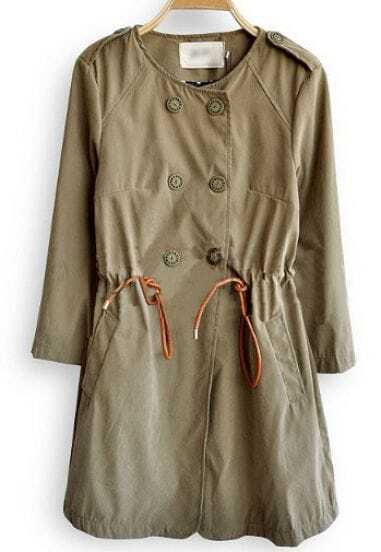 Green Long Sleeve Double Breasted Drawstring Coat