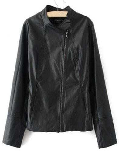Black PU Leather Stand Collar Long Sleeve Zip Jacket