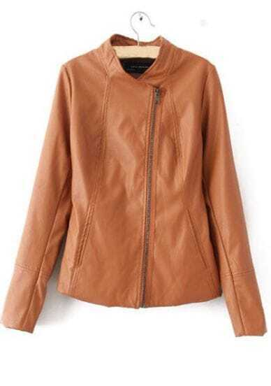 Camel PU Leather Stand Collar Long Sleeve Zip Jacket
