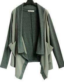 Army Green Drape Front Shawl Collar Pockets Long Sleeve Coat