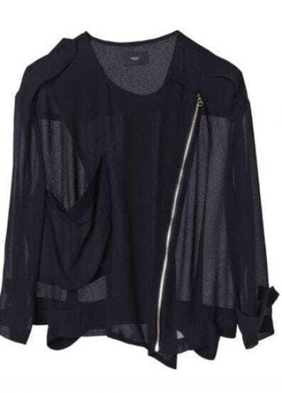 Black Long Sleeve Big Pocket Zip Sheer Chiffon Crop Jacket