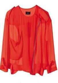 Red Long Sleeve Big Pocket Zip Sheer Chiffon Crop Jacket