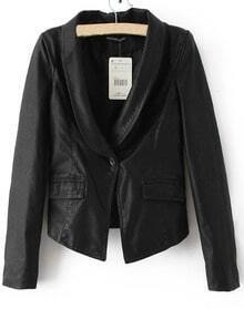 Black PU Leather Shawl Collar Long Sleeve Pockets Blazer